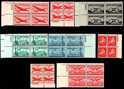 US Airmail Stamps: C32-C36, C38-C40 Plate Blocks Mint, og, Never Hinged