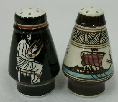 Vintage Hand Painted Greek Salt and Pepper Shakers