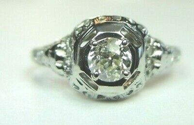 Antique Art Deco Vintage Diamond Engagement EGL USA 18K White Gold Ring Size 8
