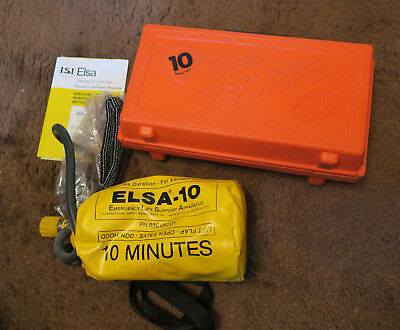 Emergency Life Support Apparatus for Escape ISA ELSA 10 minute  Complete w Hood
