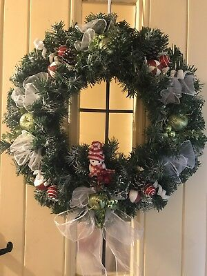 Christmas Door Wreath Luxury Bauble Sprays Apples Organza 50cm