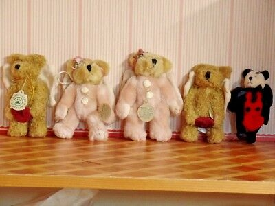 5 Boyds Bear Plush Ornaments all with Angel Wings all Jointed (ORN 06)