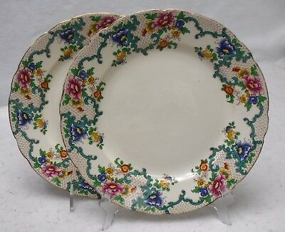 ROYAL CAULDON china FLORADORA pattern Set of 2 Dinner Plates - 10-5/8""