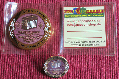 Geo-Achievement Geocaching Achievement Geocoin & Pin Set 9000 Finds