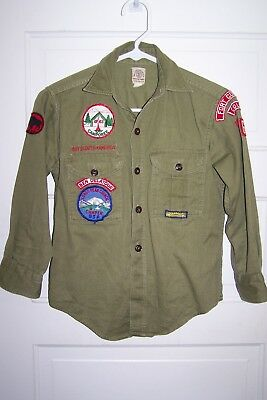 B.S.A. BOY SCOUTS-1963-UNIFORM SHIRT[ DRAB GREEN ]  w/ PATCHES, ORDER OF ARROW