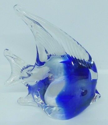 Angel Fish Hand Blown Art Glass Blue Figurine Paperweight