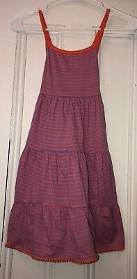 MINI BODEN Girls Purple Orange Striped Tank Cross back Dress Sz 6-7