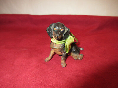 Antique Cold Painted Metal Sitting Dachshund Wiener Puppy Dog Sculpture Figure