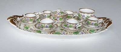 Completely Unique Charming Miniature 19th c. Hand-painted China Tea Set