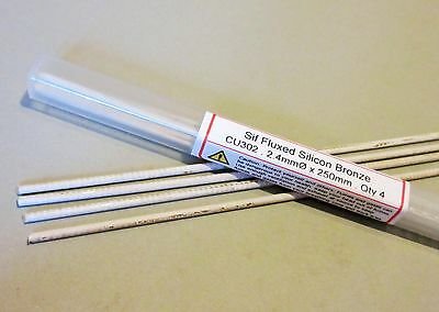 SIF FLUXED BRONZE BRAZING RODS 4 rods GENERAL PURPOSE - JOINS COPPER STEEL