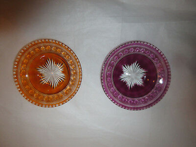 Antique Cut To Clear Bohemian Glass Salt Cellars Dips - Amber & Amethyst