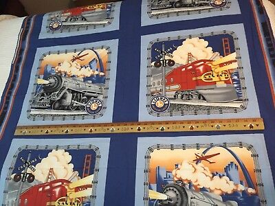 Lionel Train Santa Fe Engine Fabric Springs Industries 6.4 Yards UNCUT