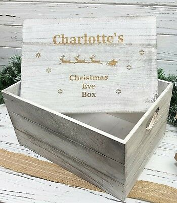 Wooden Christmas Eve Box Personalised Engraved large Sleigh Crate Box 30cm