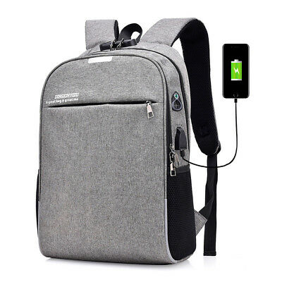 20L Anti-theft Men Laptop Notebook Backpack USB Charging Port School Bag With