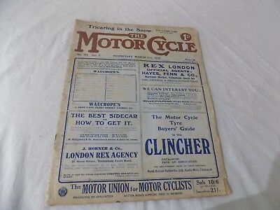 VERY RARE MARCH 1909 THE MOTORCYCLE MAGAZINE No 312 Vol 7 AMAZING CONDITION FOR