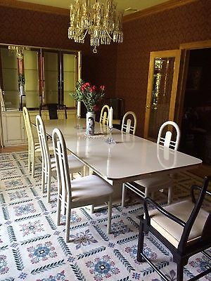 Vtg Italian DINING ROOM SET 9 foot TABLE 2 Armchairs 6 Side Chairs HUTCH/BREAKER