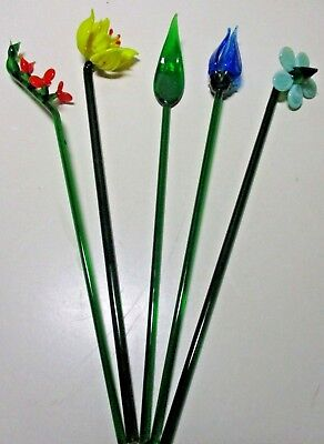 "Set of 5 Murano Style Hand Blown ART GLASS FLOWERS ~ 8 1/4"" Tall"