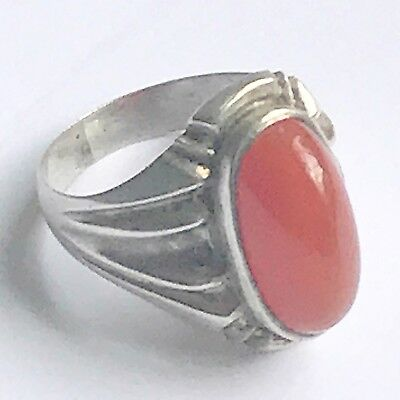 Art Deco Silver ( White Metal ) Huge Cabochon Carnelian Gemstone Vintage Ring
