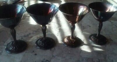 6 Silver. Gobham plated wine goblets signed
