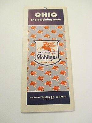 Vintage 1941 Mobilgas Ohio Oil Gas Service Station Road Map