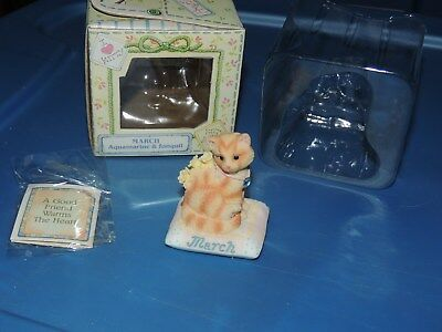 Calico Kittens Cat Of The Month March Aquamarine & Jonquil Enesco #784818 Nib