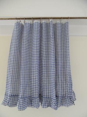 VINTAGE FRENCH DRAPERY CHECK CAFE NET/VOILE CURTAIN - UNUSED-1.4 Metres