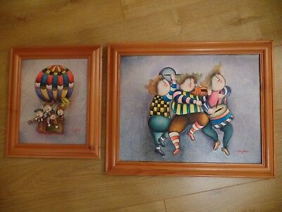 Pair Of Obstract Canvas Oil Paintings