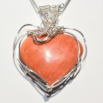 "CHARGED REIKI Wrapped Red Sedona Jasper Heart Perfect Pendant™ + 20"" Chain"