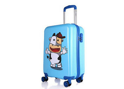 D861 Blue Cartoon Cow Universal Wheel Children Suitcase Luggage 20 Inches W