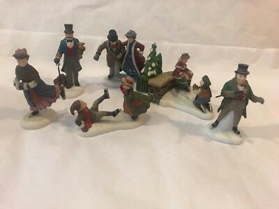 Dept 56 HerItage Christmas Village Accessory Figurines Ashley Pond Skating Party