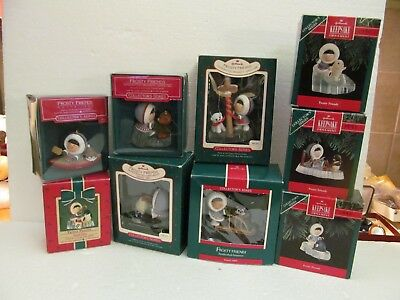 9 VTG Hallmark Frosty Friends Christmas Ornaments 1984 THRU 1992 All in Boxes