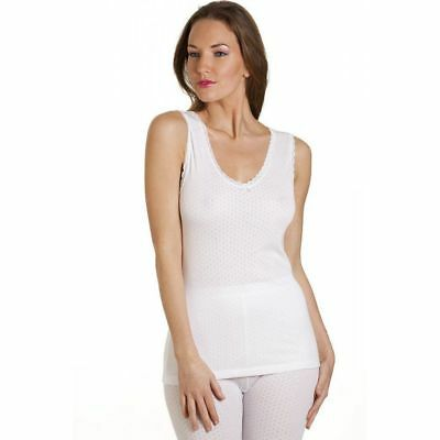 Women's Basic Thermal Underwear Ladies Warm Thermals Vest White