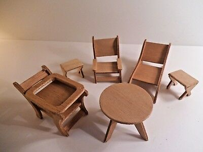 Vintage Dollhouse Miniature Wood LOT Furniture Table Chairs Fairy Garden Craft