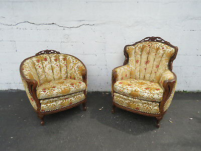 Early 1900s Carved Pair of His and Hers Living Room Fireplace Side Chairs 8955