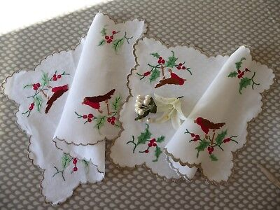 Vintage Hand Embroidered Linen Tray Cloths Pair-Robins & Holly Berries Christmas