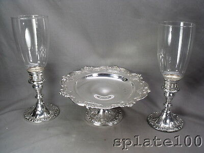 Gorham Chantilly Pattern 3 Pc Console Set Cake Plate And Hurricane Candle Sticks