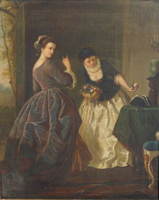 SUPERB, ORIGINAL ANTIQUE PAINTING OF YOUNG WOMEN VINTAGE PAINTING ART 19th CENT.