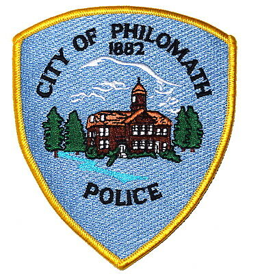 PHILOMATH OREGON OR Sheriff Police Patch COURTHOUSE CLOCK TOWER CLOUDS ~