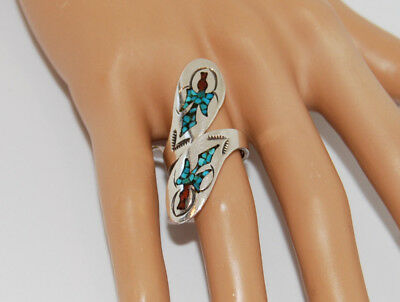 Vintage Navajo Sterling Silver Native American Turquoise Inlay Wrap Around Ring
