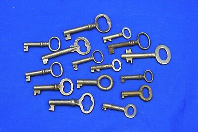 Lot of 15 Small Antique Cabinet and Drawer Keys  Hollowed Ends
