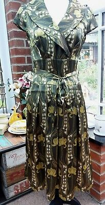 Stylish 1950s Vintage Style Art Nouveau Print Dress 10  BNWOT Party Christmas 🎄