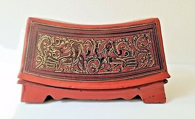 Antique Burmese Bagan Lacquerware Box Kinnaris Motif Hindu Folk Art Myanmar