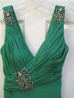 Women's Sz.4~Green Rhinestone Adorned Gown~Worn Once~Veuc~Beautiful Crystals Too