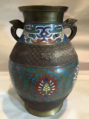 "Antique Hand Painted Large Bronze Urn Vase 11"" Bottomless Heavy"