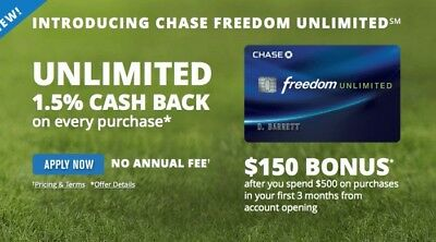 $175+50 Bonus Rewards from my  Chase Freedom Unlimited  Credit Card Referral