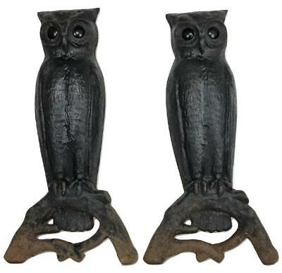 BIG Pair Country Folk Cast Iron Owl Glass Eyes Fireplace Andirons Howes Foundry?