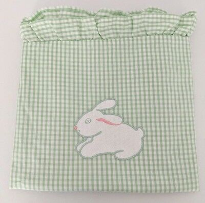 Ikea Crib Duvet Cover Green Gingham Rabbit Applique Ruffle Cotton 29 x 39""