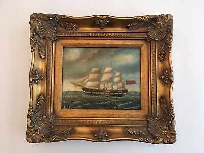 Vintage Ship Seascape Oil Painting on Board signed N.Bo