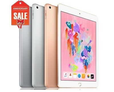 "Apple iPad 6th 9.7"" 2018 Wifi + Cellular Unlocked, Gray Silver Gold - 32GB 128GB"