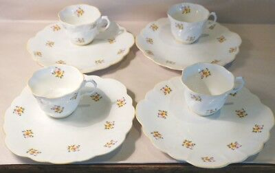Set Of (4) Rare Vintage Rosina Dainty Flower Series Cup And Snack Plate Set